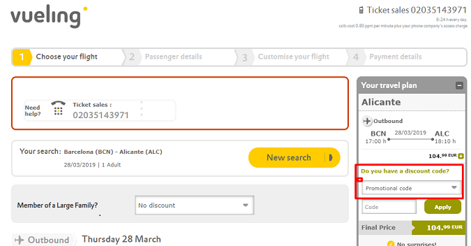 Use vueling coupon code
