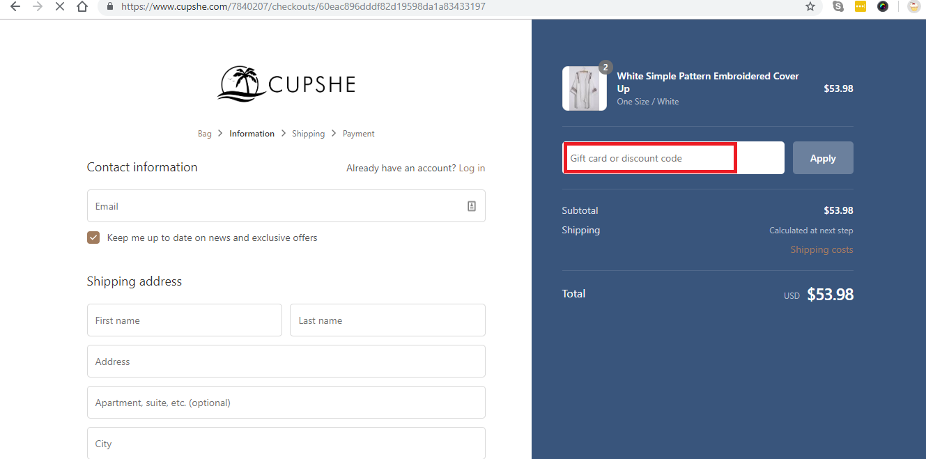 Apply Cupshe Coupon Code